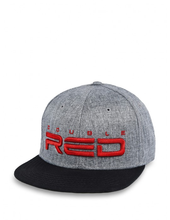 JERSEY DOUBLE RED 3D Embroidery Cap Grey/Black